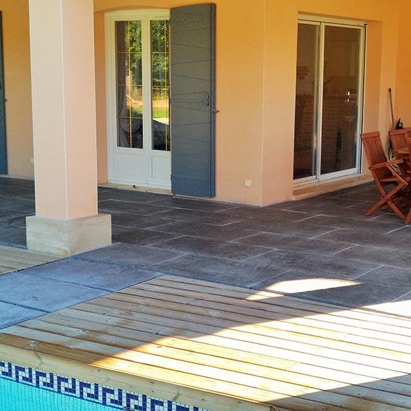 terrasses en carrelage imitation bois ardoise ou lames bois. Black Bedroom Furniture Sets. Home Design Ideas